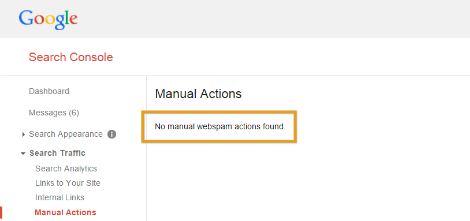 Google Search Console > Search Traffic > Manual Actions